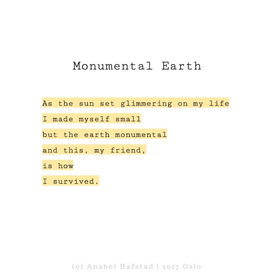 "Poem ""Monumental Earth"""